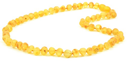 Raw Amber Necklace for Adults - Lemon Color - 17.7 Inches - Baltic Amber Land - Hand-made From Unpolished / Certified Baltic Amber Beads - Knotted - Screw Clasp (Lemon)