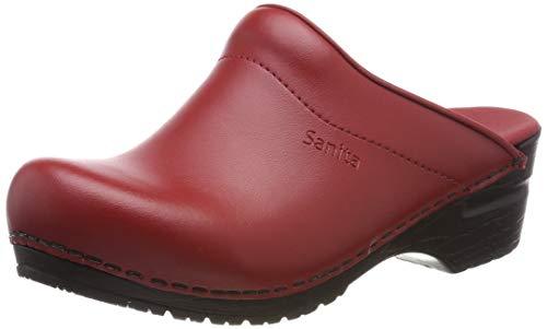 Sanita | Sonja Zuecos | Original Hecho a Mano para Mujer | Zuecos de Piel Flexible de Poliuretano | Rojo | 42