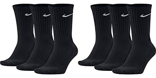 Nike 6 Paar Herren Damen Socken SX4508 weiß oder schwarz oder weiß grau schwarz, Farbe:Schwarz, Sockengröße:42-46