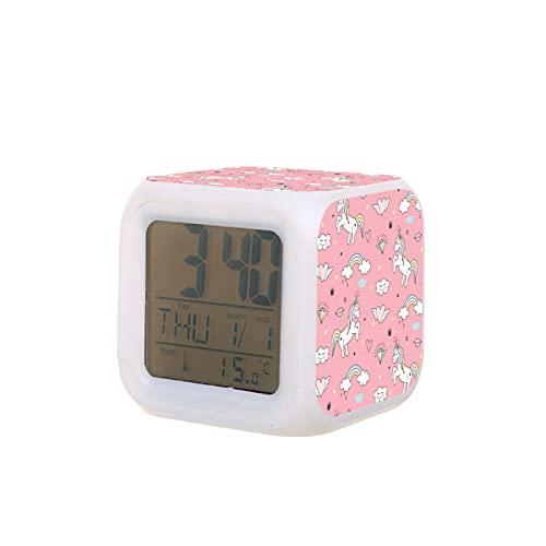 LED de moda creativa el despertador unicornio estudiantes el reloj despertador el cuadrado reloj