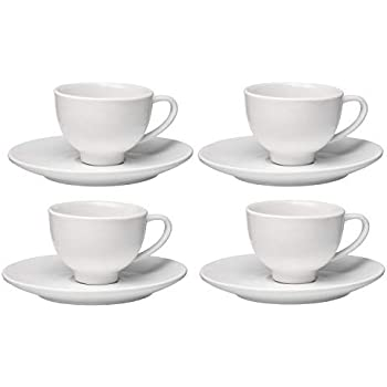 Francois et Mimi Set of 4 High-fire Pure White Porcelain Espresso Cup and Saucer