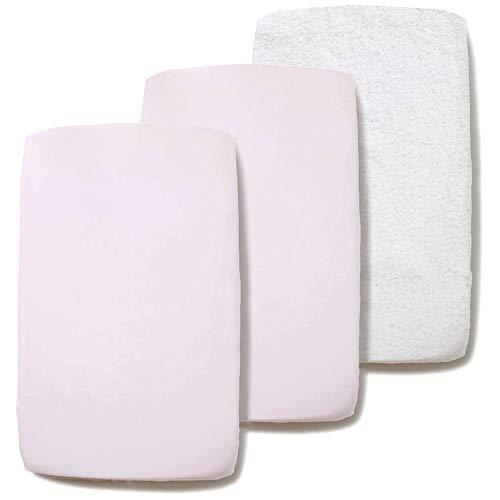 Pekebaby Pack 2 Bajeras de algodón 100% + 1 Protector colchón no Acolchado Rizo Maxicuna (70 x 140 cm) Rosa