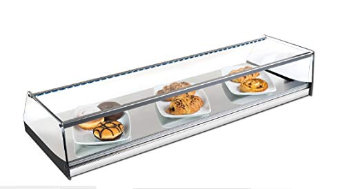 Vitrina neutra expositora alimentos, ideal barra bar para los aperitivos, cristal recto y iluminación LED