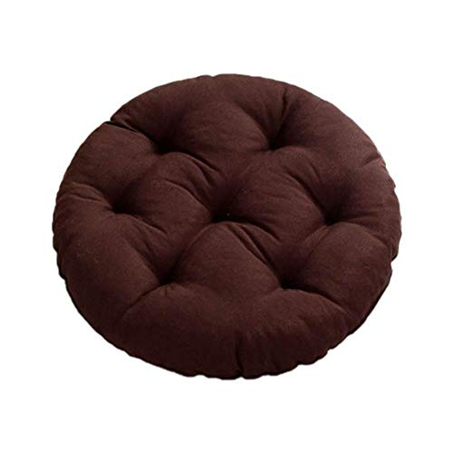 Demarkt Round Chair Cushion Cotton Seat Cushion Colourful Garden Chair Cushion Plain Tatami Mat 43 cm, dark brown, 43 cm