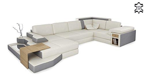 Bullhoff by Giovanni Capellini XXL Wohnlandschaft weiß/grau Ledersofa U-Form Ledercouch Ecksofa Sofa Design Couch mit LED-Licht Bergamo