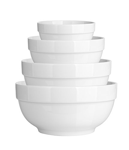 DOWAN Porcelain Serving Bowls, 64/42/22/12 Ounce Nesting Bowls Set, Scratch Resistant Prep Bowls for Kitchen, Thicken Edge, Elegant White