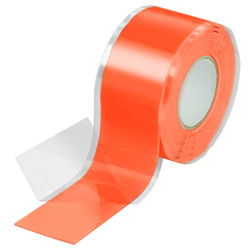 Poppstar 1x 3m selbstverschweißendes Silikonband, Silikon Tape Reparaturband, Isolierband und Dichtungsband (Wasser, Luft), 25mm breit, orange