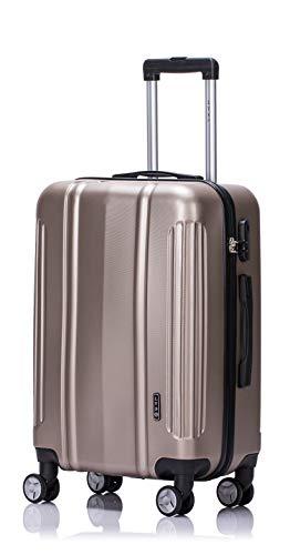 LYS - Valise Cabine Trolley 55x35x21 cm Ultra léger Rigide Rouge 4 Roues doublées ABS pour Toutes compagnies aériennes (Taupe)
