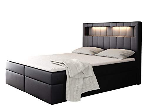 Boxspringbett Snap mit LED-Beleuchtung Doppelbett mit 2 Bettkästen Matratze + Topper Amerikanisches Continentalbett Polsterbett Farbauswahl Bett mit Kopfteil Bettgestell (Soft 011, 120 x 200 cm)