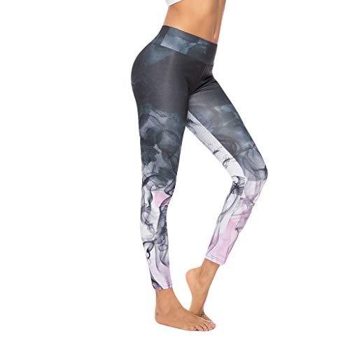 Mxjeeio - Mallas Deportivas Mujer Pantalones Pirata Leggins Deportes para Running Yoga Fitness Gym con Estampado Digital Pantalones con Fondo Deportivo Pantalones de Yoga Deportivos Ajustados