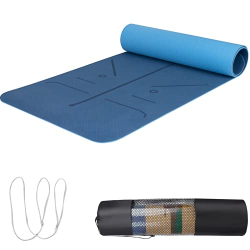 """best yoga mat for 2021 Non-Slip Yoga Mat, Eco Friendly TPE Workout Mat with Strap and Bag, 1/4 Inch Thick, 72""""x 24"""", Comfortable and Easy to Carry, Blue"""