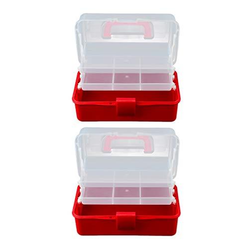 SM SunniMix 2X En Plastique 2 Niveaux Plateaux Artisanat Offre Boîte De Stockage/Premiers Secours Transportant Cas/Ongles Arts Accessoires Outil De Maquillage