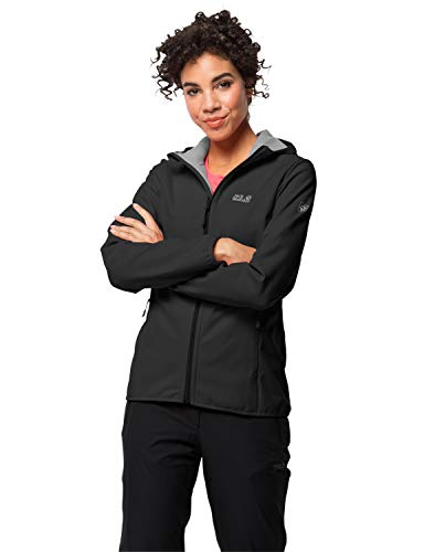 Jack Wolfskin Damen Northern Point Women Atmungsaktiv Wasserabweisend Winddicht Outdoor Funktionsjacke Wanderjacke Softshelljacke, schwarz (black), L