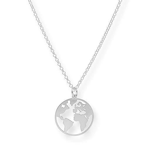 Colgante Mujer Plata de Ley 925 - Colgante Bola del mundo en plata de primera ley (Plata) - Materiales Hipoalergénicos - Colgantes Mujer Plata - Colgantes Plata Mujer - S&S