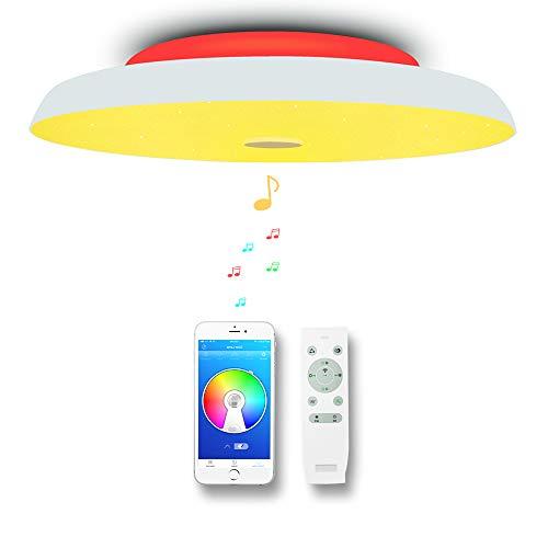 CHYSONGOODS (Versión mejorada)36W 40cm/15.7Inch redonda Plafón lampara led techo colores brillo iluminación de techo de interior con altavoz bluetooth y mando a distancia para habitación,cocina,sala