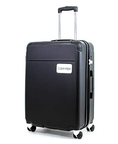 Calvin Klein Casual Hardside Spinner Luggage with TSA Lock, Black, 25 Inch