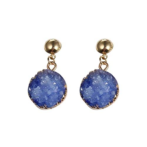 SMEJS Pendientes redondos Imitación de piedra natural Pendientes colgantes geométricos Largos Vintage Simple Elegante Pendiente colgante Joyas Regalos para mujeres Niñas, Azul 1