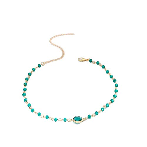 Olbye Rainbow Moonstone Necklace Choker Simple Necklace Personalize Everyday Necklace Jewelry for Women and Girls (Green)