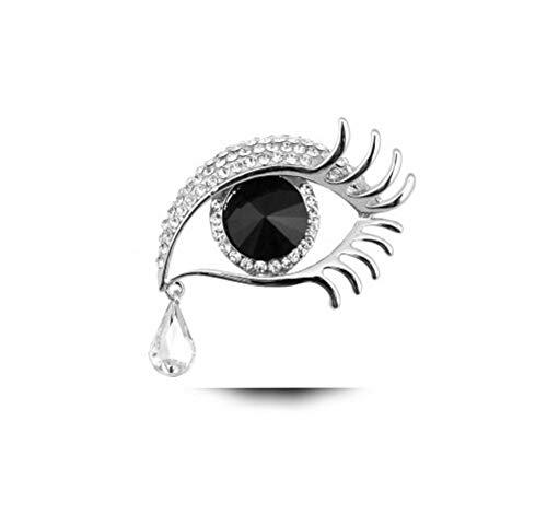Broches Y Alfileres Para Mujer,Plata + Negro Estrella De Cristal Con Broche De Lágrimas De Ángel Diamante Ojos Grandes Broche De Pestañas Largas Para Mujer Accesorios De Ropa Vintage Joyas Broche