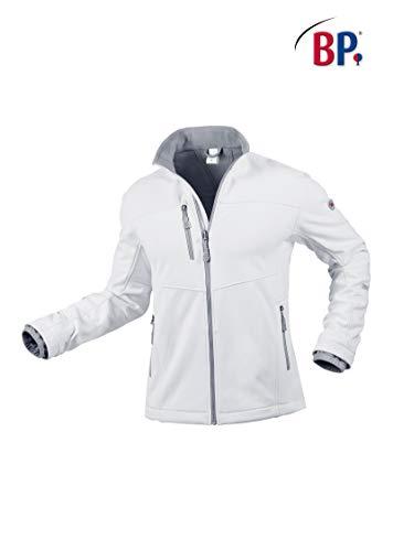 BP 1696-571-21-XL Herren-Softshell-Jacke, Stehkragen, Frontreißverschluss, 255,00 g/m² 100% Polyester, weiß ,XL