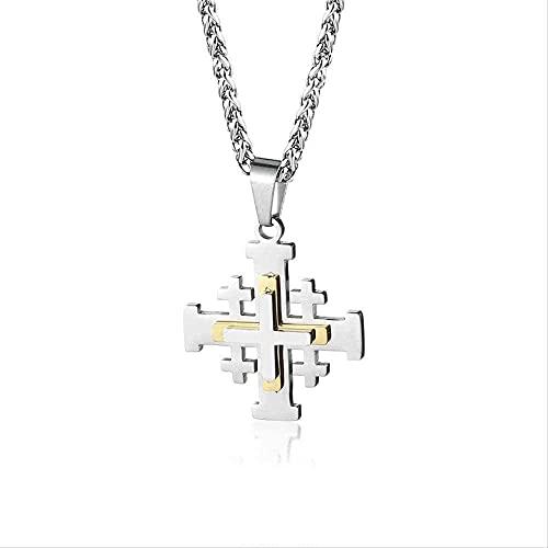 NC198 Hombres y Mujeres Religiosa Medieval Biblia Poesía Jerusalén Cruz Colgante Collar Collar de Cadena de Acero Inoxidable