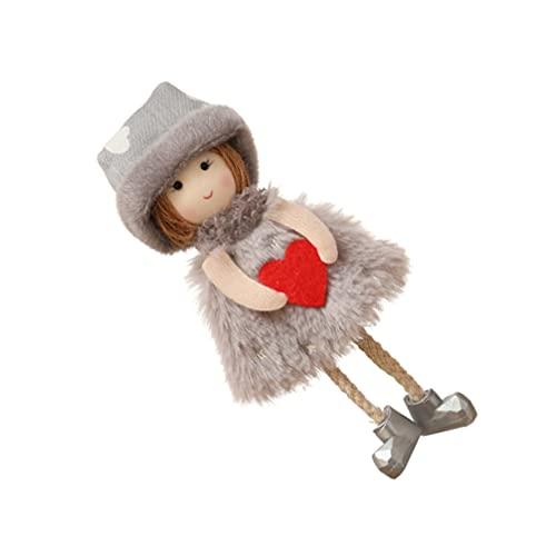 Amosfun Hängende Plüsch-Engel-Puppe, Cartoon-Anhänger, Spielzeug, niedliche Anhänger, Schlüsselanhänger, Rucksack, hängende Ornamente für Urlaub, Party, Gartendekoration (grau)