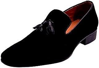 HiREL'S Men Black 100% Suede Leather Tassel Mocassion Loafers