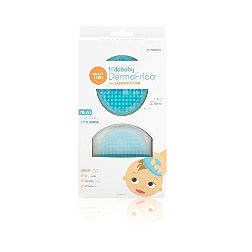DermaFrida The SkinSoother Baby Bath Silicone Brush by Fridababy | Baby Essential for Dry Skin, Cradle Cap and Eczema (2 Pack)
