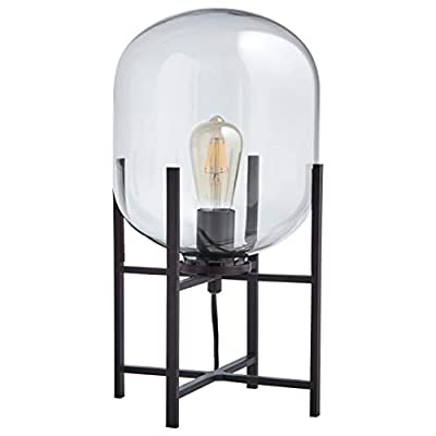 "Rivet Modern Table Lamp, 18.5""H, With Bulb, Matte Black with Clear Glass Shade"