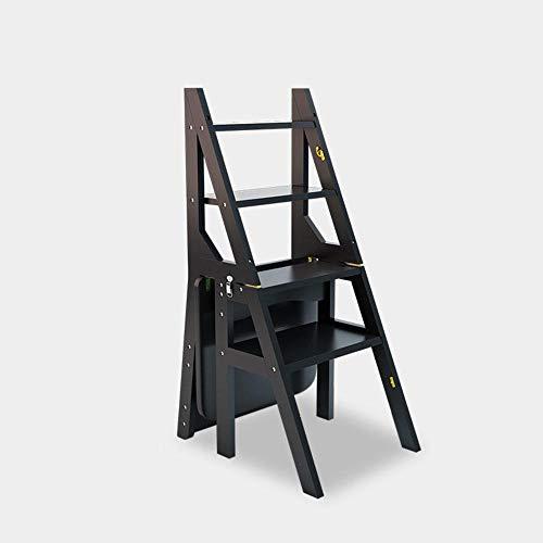 4 Peldaños Multifunción Taburete Plegable Hogar Madera Maciza Silla Escalera De Escalada Interior Estante Carga,150Gk,Negro De Bambú