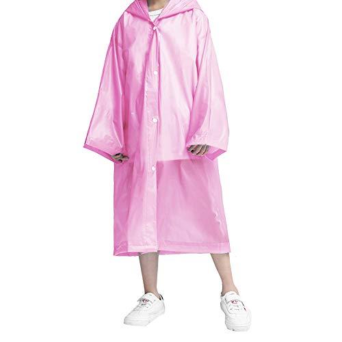 VCOSTORE Kids Rain Ponchos, Clear Rain Coat Wrinkle Free Hooded Rainwear for Boys Girls Age 3-12 Pink