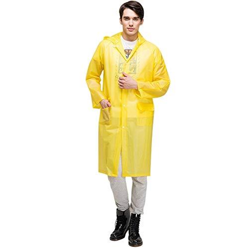 XINGRUI Rain Gear Supplies Mode pour Adultes Léger EVA imperméable Transparent Grand Chapeau à Capuchon avec Taille de Poche: L (Rose) (Color : Yellow )