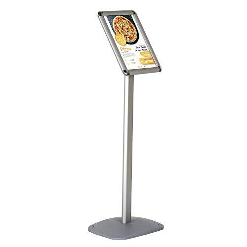 DISPLAY SALES Infoständer DIN A4 (210 x 297 mm). RONDOECKEN silber Premium Design Informationsständer (1 m Höhe). Rostfreie Aluminium Fußplatte   Attraktiver Infohalter für Hoch-/Querformat Einsatz