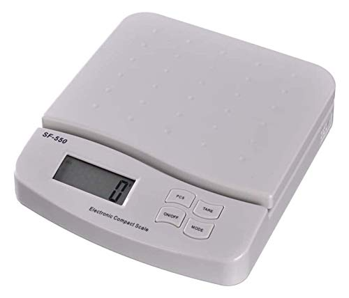Electronic Kitchen Scale, 25kg/1g Digital Cooking Food Scale LCD Postal Scales for Home, Kitchen,Courier Company ect (Black/White) (White, 21x16cm) Premium Stainless Steel Electronic Cooking Scales