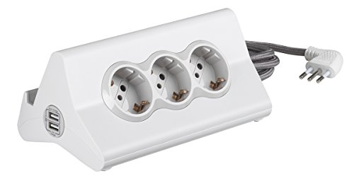 BTicino S3713DBU Multipresa hi-tech con 3 prese standard 10A/16A tipo P30 250 V, 2 prese USB (1 USB Carica rapida 5 V 2.4 A max, 1 USB 5 V 1.5 A max), Cavo 2 m, Bianco