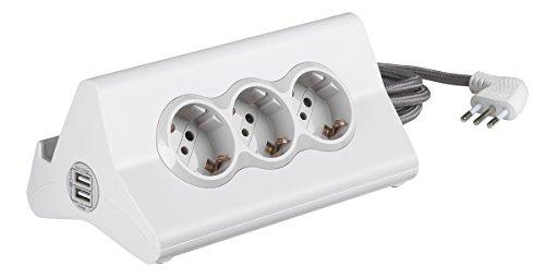 BTicino Stardesk multistekkerdoos voor op het bureau met 10 A stekker, 3 stopcontacten P30, 2 USB-stekkers, met schakelaar, kabellengte: 2 meter, kleur: wit, S3713DBU bianco