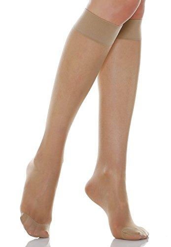 Relaxsan Basic 700[N] (1 Par - Carne, tg.2) Medias a la rodilla 70 Den de compresión graduada sin talón 12-17 mmHg