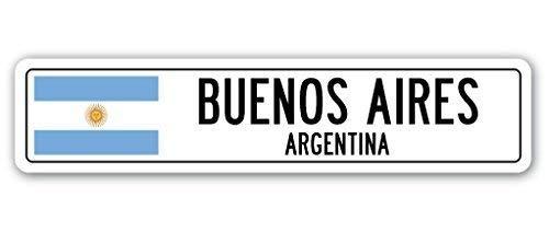 Metall-Straßenschild lustiges Schild Geschenk Buenos Aires Argentinien Straßenschild Argentinien Flagge Stadt Land Straße Wand Geschenk Outdoor Metall Aluminium Schild 40,6 x 10,2 cm
