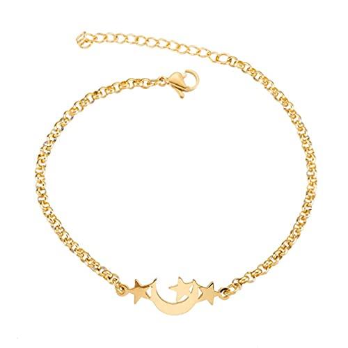 SeniorMar-UK Edelstahl-Stern-Mond-Form-Armband hypoallergenes Armband für Damen weibliche dekorative Accessoires Gold 28x10mm