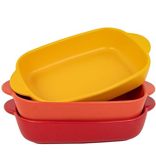 AQUIVER 20oz Small Ceramic Baking Dish – 7.5'' x 5.6'' Rectangular Porcelain Matte Individual Bakeware for Vegetable, Lasagna, Casserole, Chicken, Brownies - Set of 3 (3 colors)