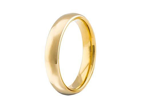Aliança Tungstênio Tradicional 4mm banhada ouro 18k