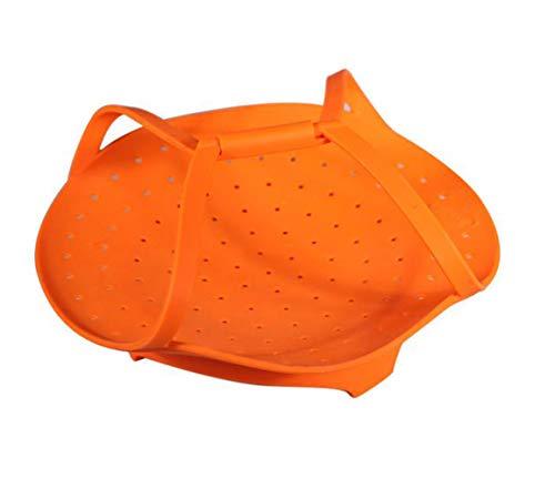 ZSJZHB Silicone Steamer, Round Folding High Temperature Non-Slip Anti-Scalding Steamer Basket, Multi-Function Household Steam Basket, Heat-Resistant Silicone Steamer, Non-Stick Steamer