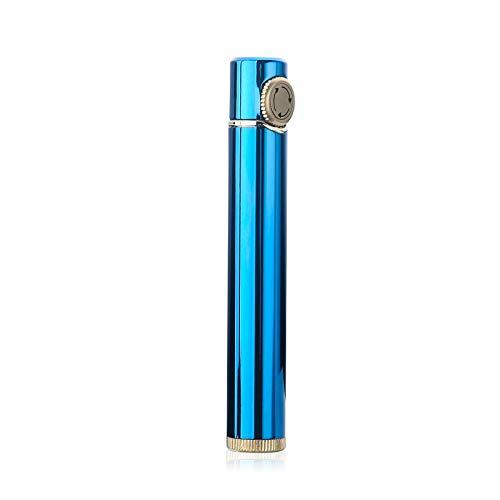 【WDMART】 ガスライター メタルライター 葉巻ライター 充填式ライター 注入式ライター 軽量 携帯便利 無料贈呈着火石6粒 タバコケースに入れることができます (ガスを含んでいません) (ブルー)