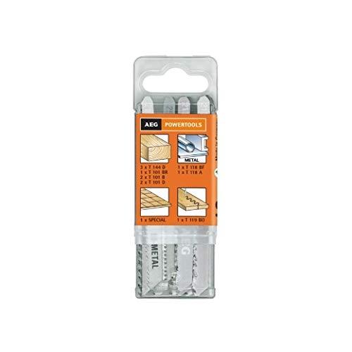 AEG 4932373494 12-teiliges Set Stichsägeblätter für Holz/Kunststoff/Metall in Containerbox
