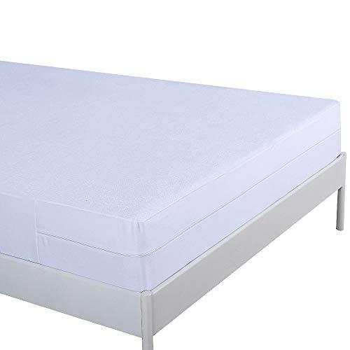 Umi Amazon Brand Funda de colchón Impermeable con Cremallera, Algodón - Altura 30cm (135x190+30cm