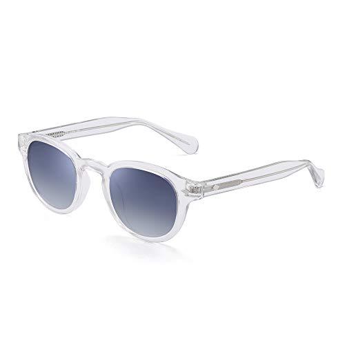JIM HALO Vintage Runden Polarisiert Sonnenbrille Für Damen Acetat Rahmen UV400(Klar Rahmen/Gradient Graue Linse)