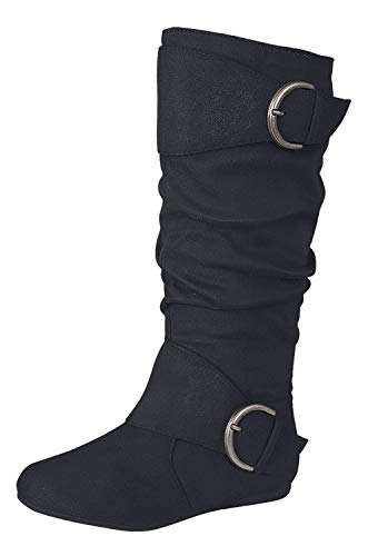 Forever Link Klein-70 Women's Closed Round Toe Buckle Slouch Flat Heel Mid-Calf Boot,Black,9
