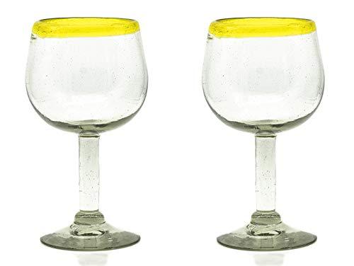 Weinglas mit gelbem Rand - 2er Set - Fair Trade - Handmade aus Mexico