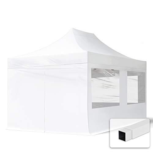 TOOLPORT Tente Pliante 3x4,5 m - 4 Bâches de Côté (fenêtres panoramiques) Economy PES300 Housse Barnum Chapiteau Pliant Tonnelle Blanc