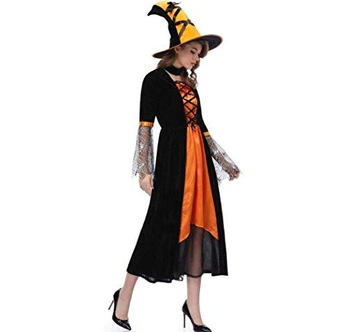 XIN Disfraz de bruja de Halloween para adultos Cosplay uniforme para mujer Sexy Demon Vampire Witch Skirt Dress Hat Carnival Party Female Suit
